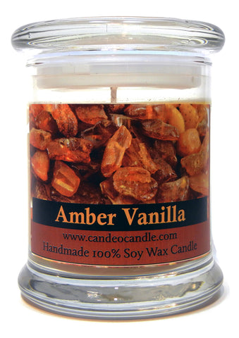 Amber Vanilla, 9oz Soy Candle Jar - Candeo Candle