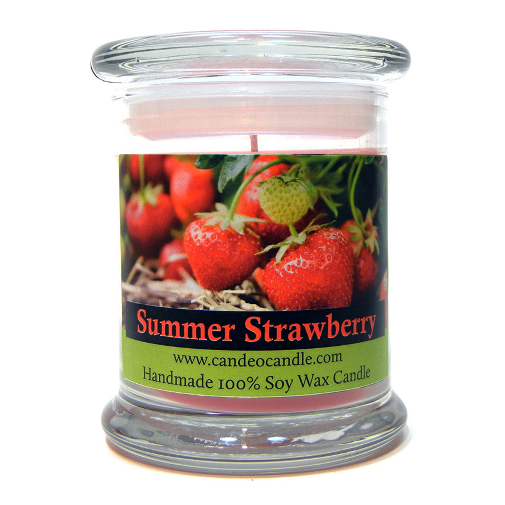 Summer Strawberry, 9oz Soy Candle Jar - Candeo Candle