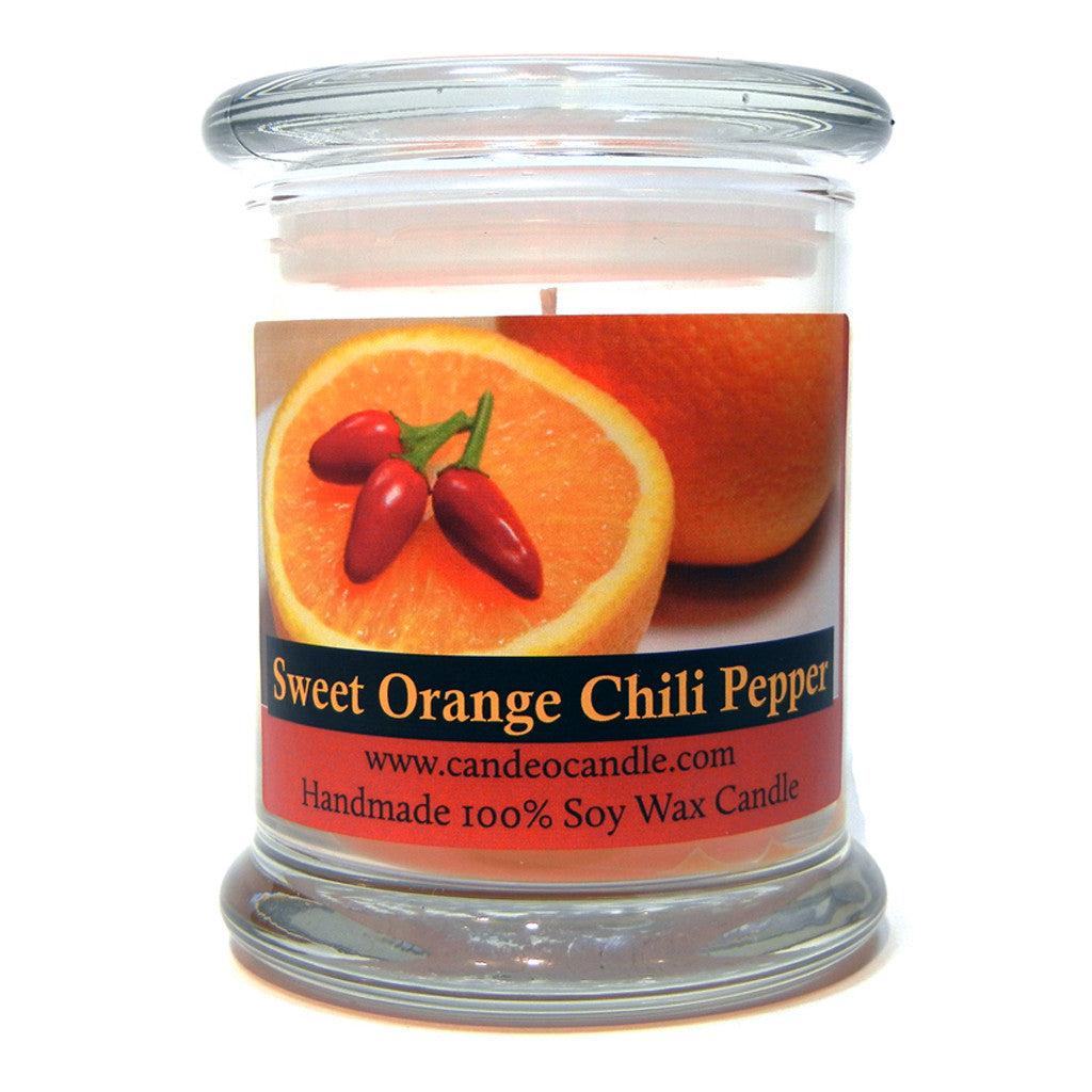 Sweet Orange Chili Pepper, 9oz Soy Candle Jar - Candeo Candle