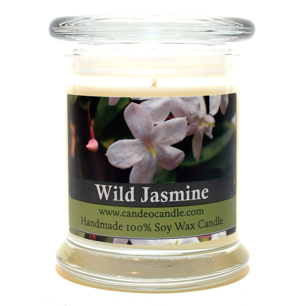 Wild Jasmine, 9oz Soy Candle Jar - Candeo Candle