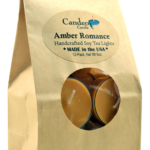 Amber Romance, Soy Tea Light 12-Pack
