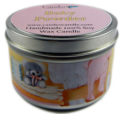 Baby Powder, 6oz Soy Candle Tin - Candeo Candle