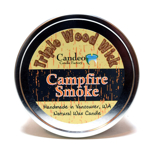 Campfire Smoke, Triple Wood Wick, 12oz Soy Candle Tin - Candeo Candle - 3