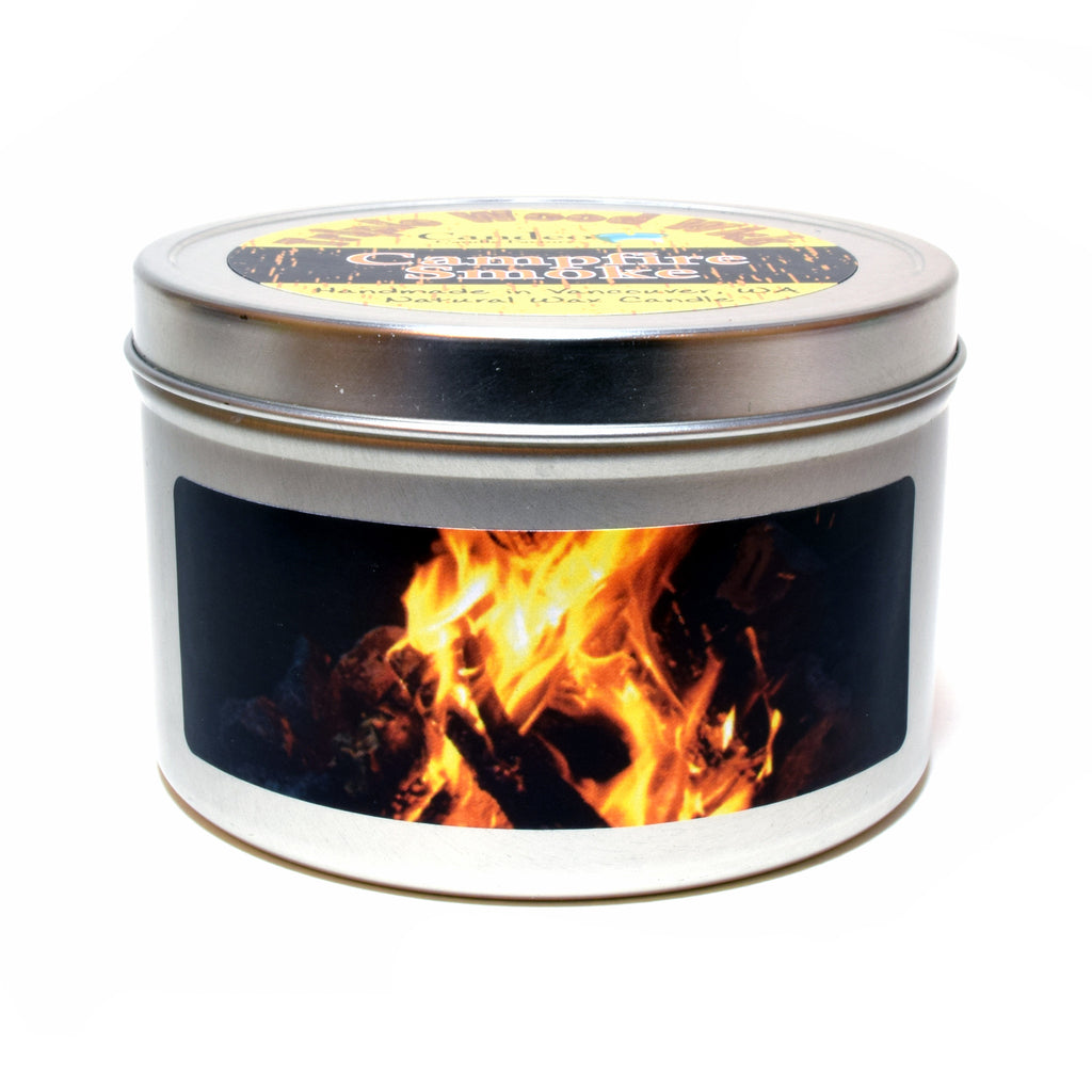 Campfire Smoke, Triple Wood Wick, 12oz Soy Candle Tin - Candeo Candle - 1