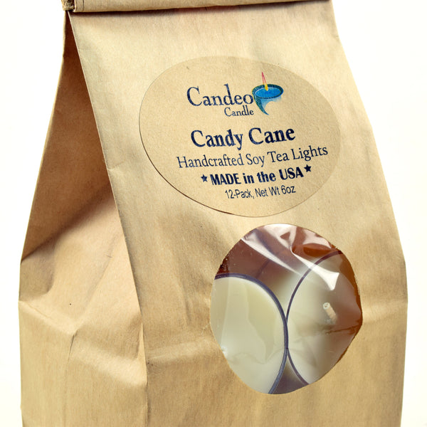 Candy Cane, Soy Tea Light 12-Pack