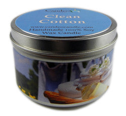 Clean Cotton, 6oz Soy Candle Tin - Candeo Candle