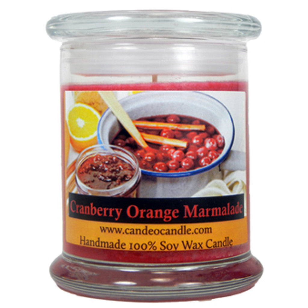 Cranberry Orange Marmalade, 9oz Soy Candle Jar - Candeo Candle