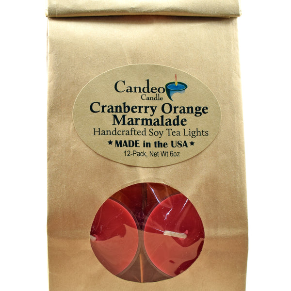 Cranberry Orange Marmalade, Soy Tea Light 12-Pack