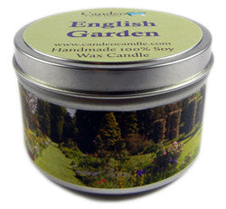 English Garden, 6oz Soy Candle Tin - Candeo Candle