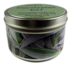 Eucalyptus Essential Oil, 6oz Soy Candle Tin - Candeo Candle