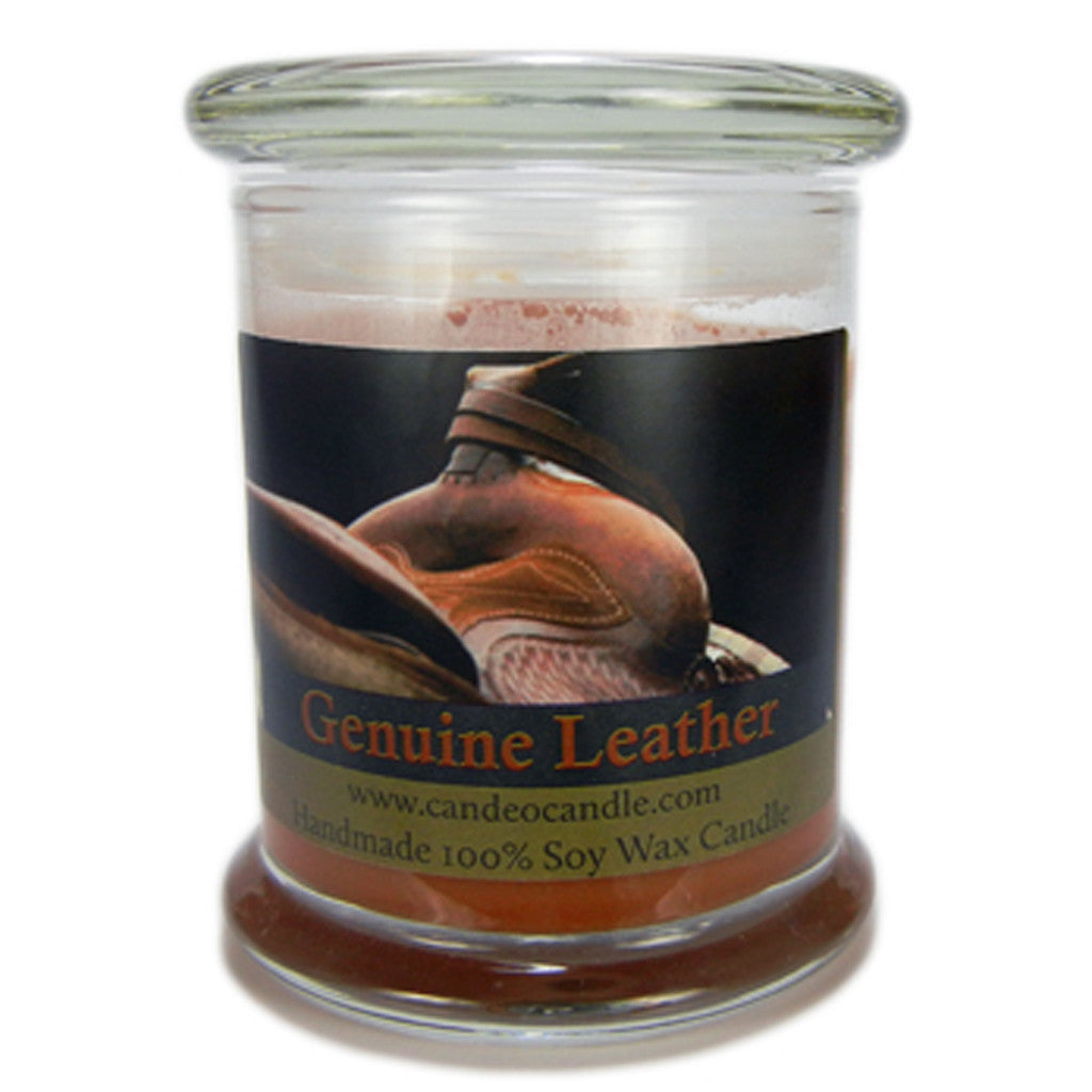 Genuine Leather, 9oz Soy Candle Jar - Candeo Candle