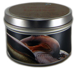 Genuine Leather, 6oz Soy Candle Tin - Candeo Candle