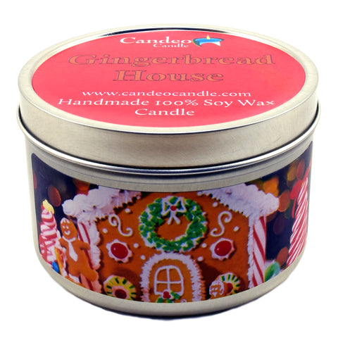 Gingerbread House, 6oz Soy Candle Tin