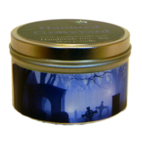 Haunted Graveyard, 4oz Soy Candle Tin - Candeo Candle