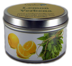 Lemon Verbena, 6oz Soy Candle Tin - Candeo Candle