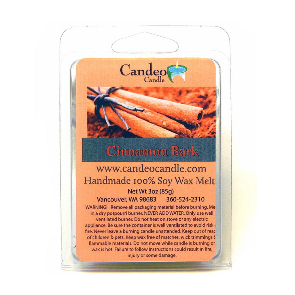Cinnamon Bark Essential Oil, Soy Melt Cubes - Candeo Candle