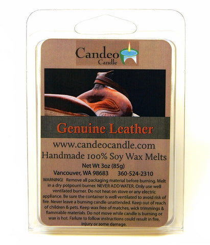 Genuine Leather, Soy Melt Cubes - Candeo Candle