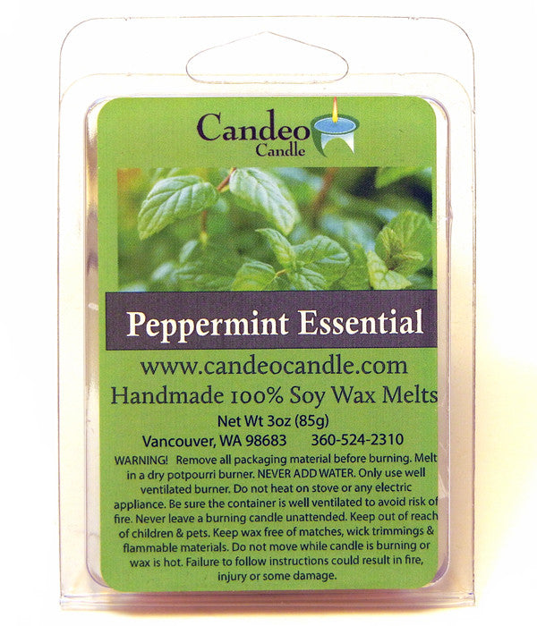 Peppermint Essential Oil,Soy Melt Cubes - Candeo Candle