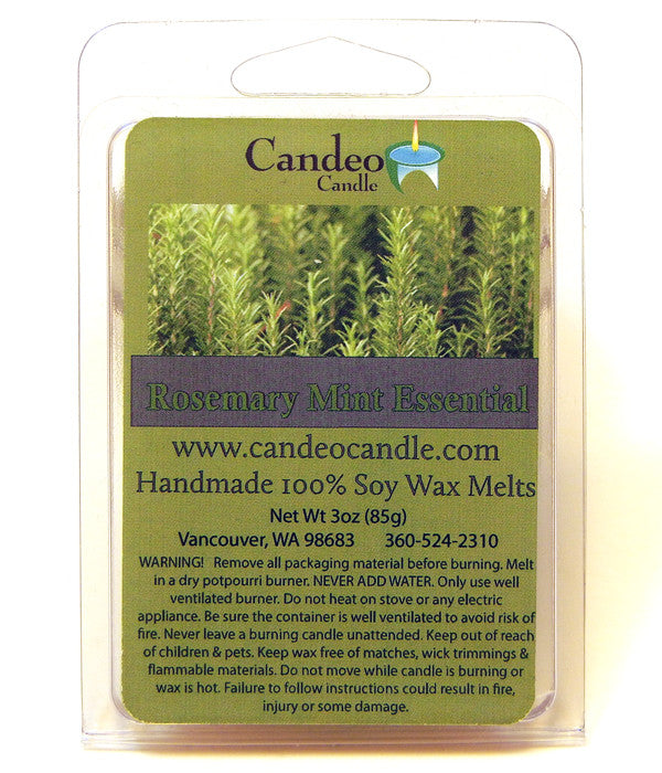 Rosemary Mint Essential Oil, Soy Melt Cubes - Candeo Candle