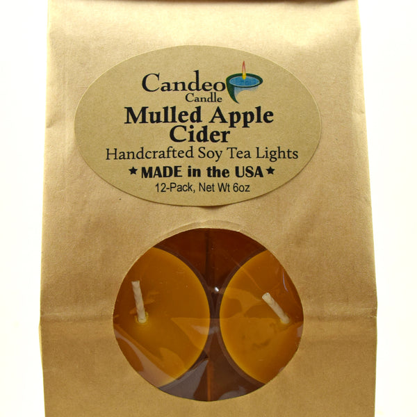 Mulled Apple Cider, Soy Tea Light 12-Pack