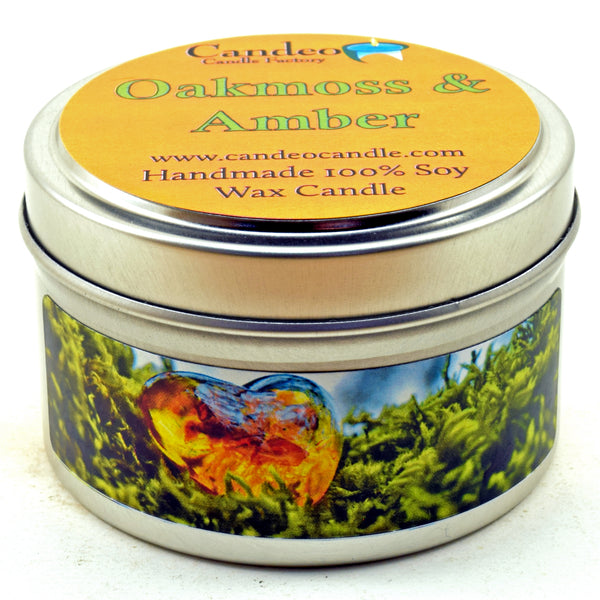 Oakmoss & Amber, 4oz Soy Candle Tin