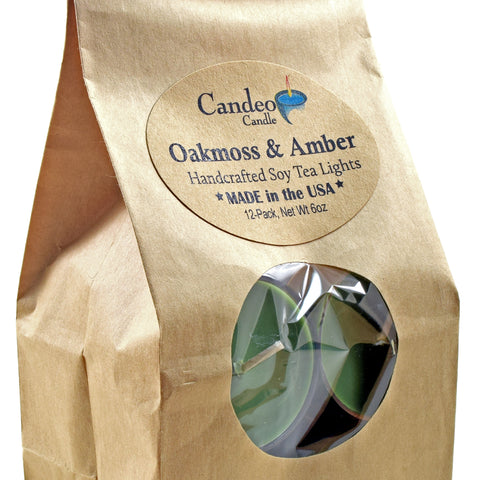 Oakmoss & Amber, Soy Tea Light 12-Pack