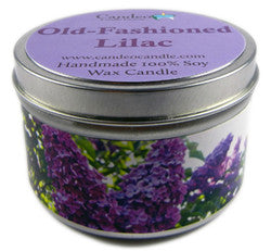 Old-Fashioned Lilac, 6oz Soy Candle Tin - Candeo Candle