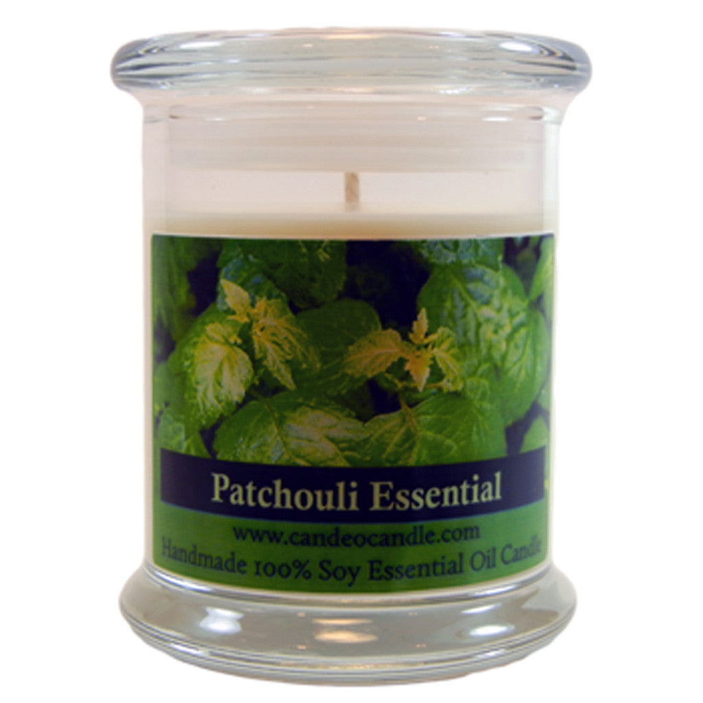 Patchouli Essential Oil, 9oz Soy Candle Jar - Candeo Candle