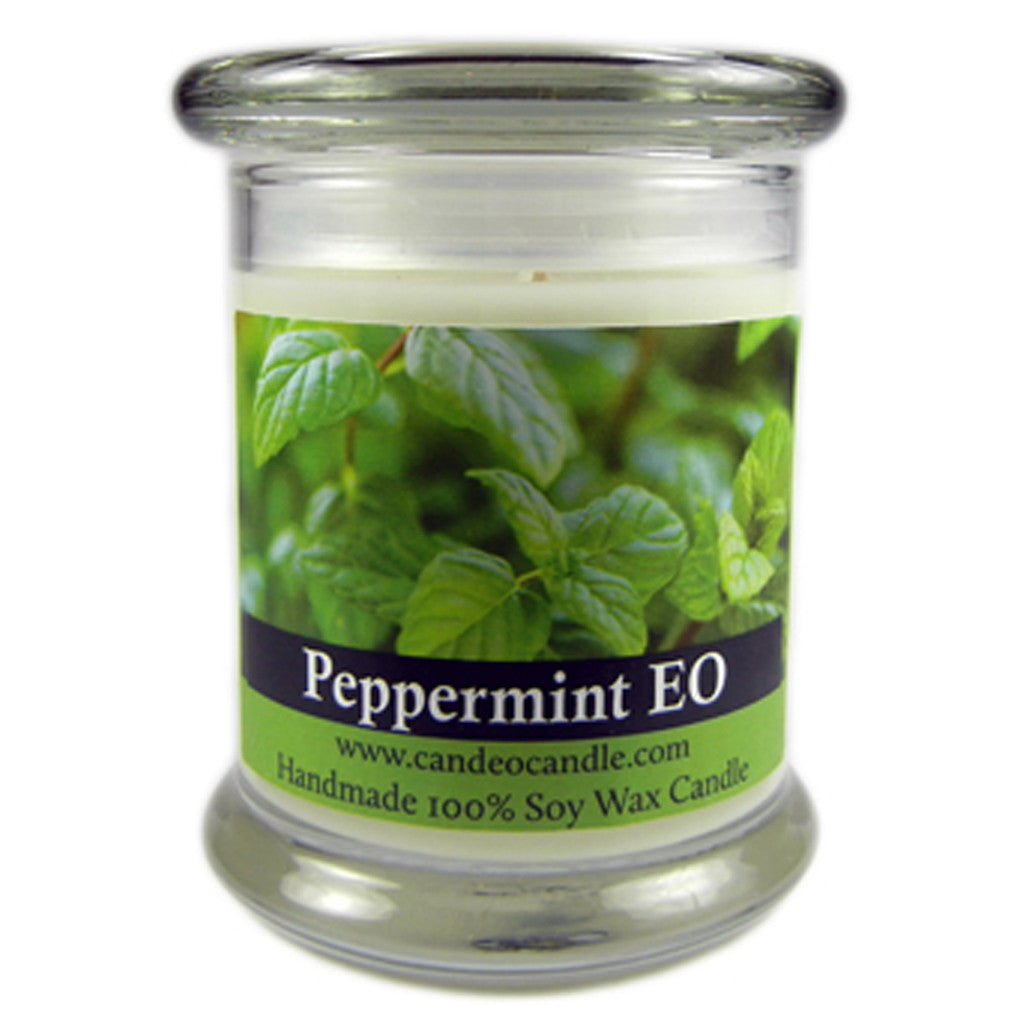 Peppermint Essential Oil, 9oz Soy Candle Jar - Candeo Candle