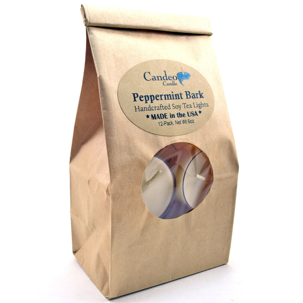 Peppermint Bark, Soy Tea Light 12-Pack