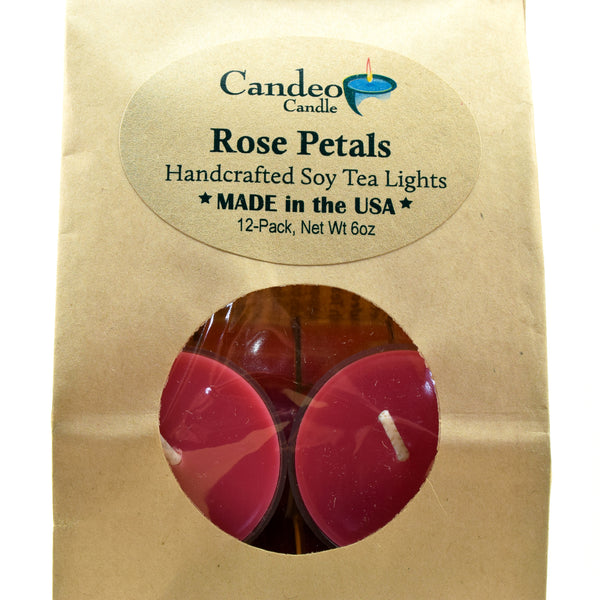 Rose Petals, Soy Tea Light 12-Pack