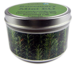 Rosemary Mint Essential Oil, 6oz Soy Candle Tin - Candeo Candle