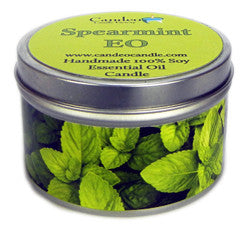 Spearmint Essential Oil, 6oz Soy Candle Tin - Candeo Candle