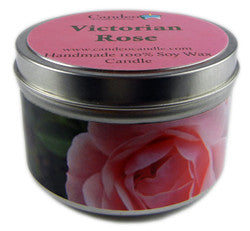 Victorian Rose, 6oz Soy Candle Tin - Candeo Candle