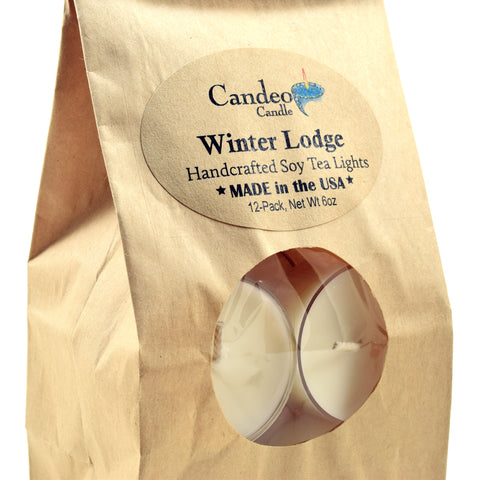 Winter Lodge, Soy Tea Light 12-Pack