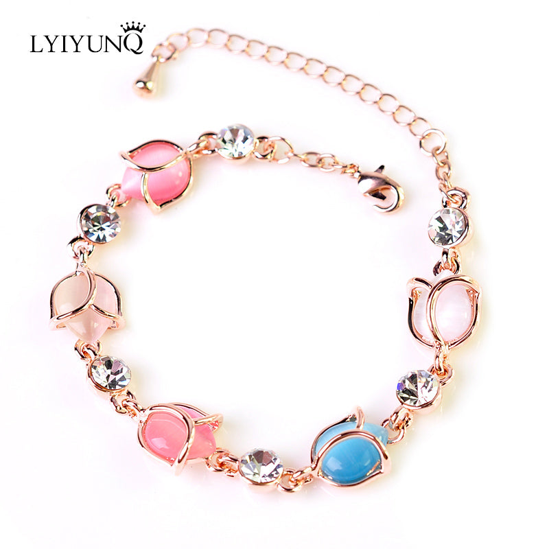LYIYUNQ High Quality Opal Bracelet Fashion Rhinestone Water Drop Shape Crystal Wedding Jewelry Classic Bracelets For Women