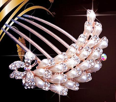 Wedding Bridal Crystal Rhinestone Flower Pearls Hairpin Diamante Hair Clip Comb