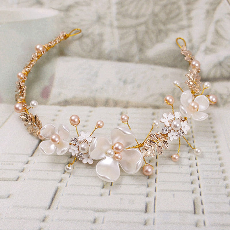 Bridal Flower Faux Pearl Rhinestone Wedding Headband Hair band Clip Tiara