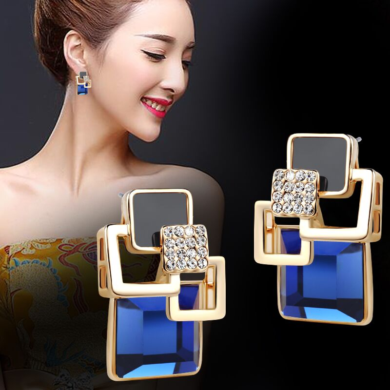 Hot Fashion Brincos Vintage Long Square Crystal Earring Big Geometric Stud Earrings For Women Classic Gold-Color Fine Jewelry