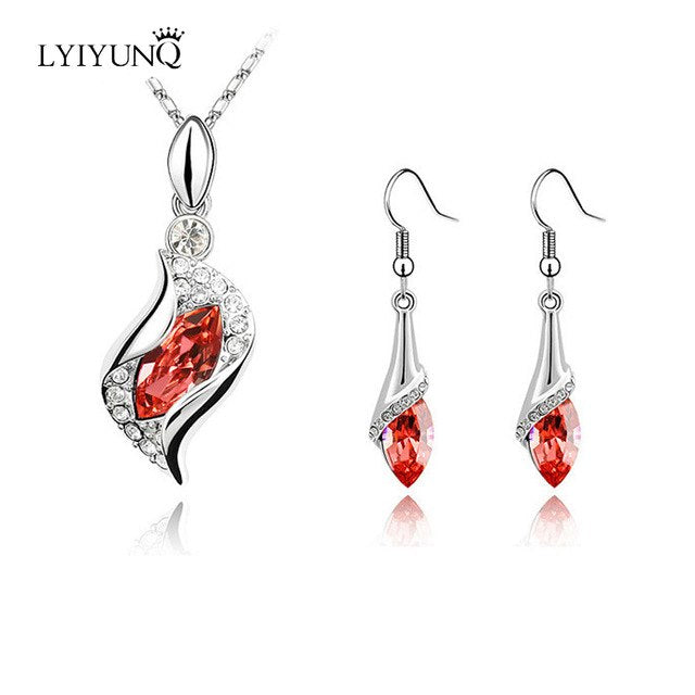 LYIYUNQ S925 Silver Water Drop Long Earrings Pendant Necklace Wedding Jewelry Fashion Crystal Jewelry Sets For Women