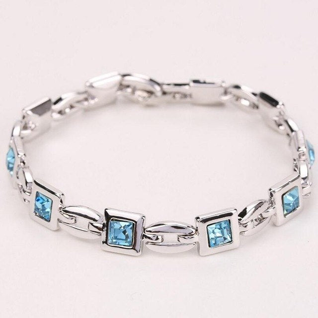 LYIYUNQ Geometric Bracelets & Bangles For Women Fashion Romantic Square Crystal Charm Bracelet Trendy Rhinestone Wedding Jewelry