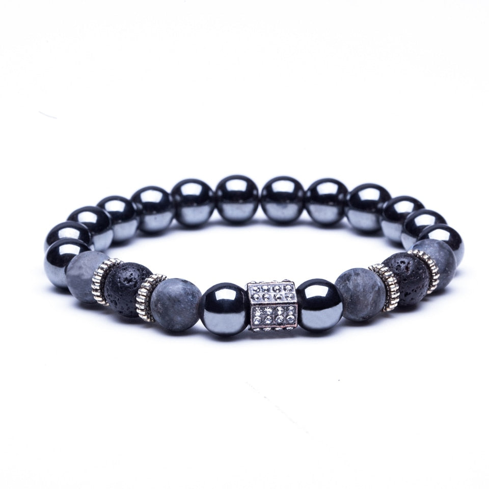 Natural stone beaded bracelets men High quality Black Skeleton Crown Natural stone Colorful beaded Tiger Eye for women & men