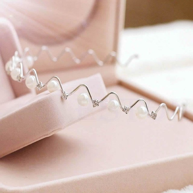 Korean Fashion Rhinestone & Imitation Pearl Wave Hairpin Hair Band Headband Accessories Hot selling