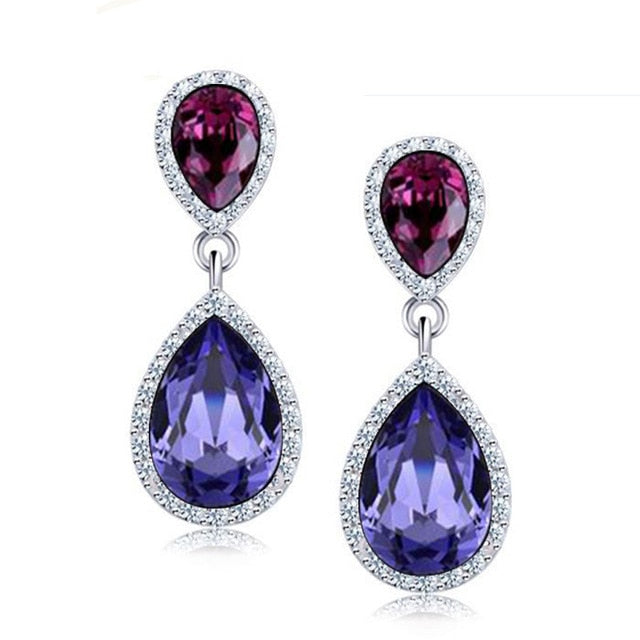LYIYUNQ Korean Elegant Temperament Long Earring Trendy Water Drop Crystal Earrings For Women Bijoux Wedding Jewelry Brincos