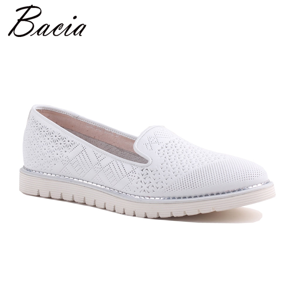 Bacia 2017 Fashion Genuine Leather Casual Loafers Shoes Flats with Hollow Out Women White Luxury Handmade Quality Shoes SA064