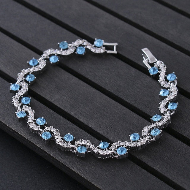 Luxury Blue Crystal Bracelet For Wedding Silver Bracelet Rhinestone Charm Women Bangles Jewelry Pulseira Feminina BR520