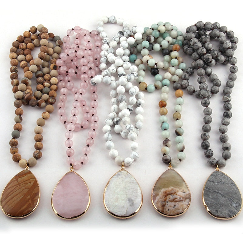 Free Shipping Fashion Bohemian Jewelry Natural Stone Knotted Stone Matching Stone Drop Pendant Necklaces For Women