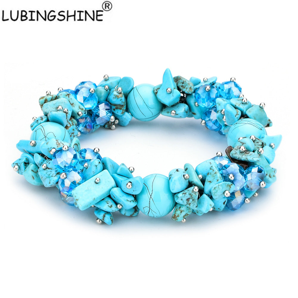 LUBINGSHINE Irregular Natural Stone Strand Bracelets Gravel Charms Handmade Jewellery Women Chic Stretch Elastic Bracelet Women