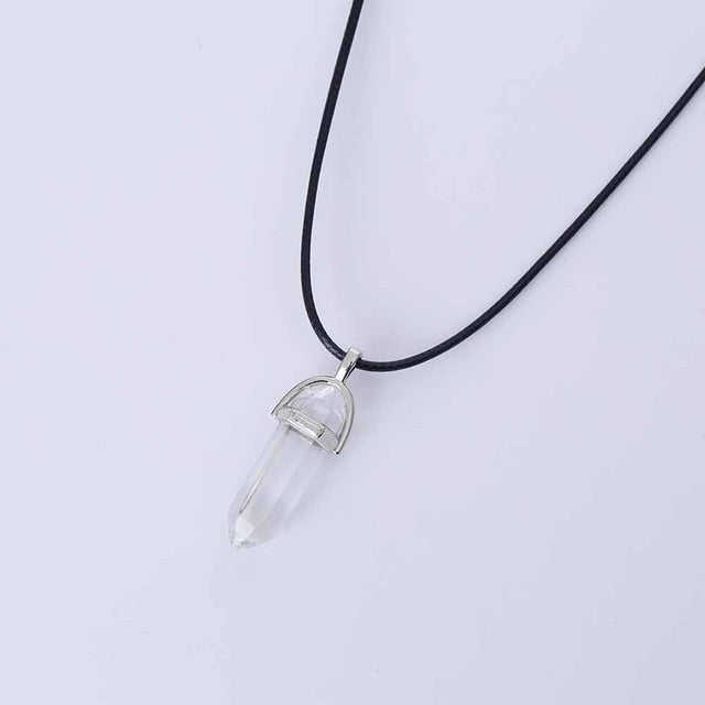 Vienkim Hot Hexagonal Column Necklaces Natural Crystal Pendants Stone Pendant Leather Chains Necklace For Women Fashion Jewelry