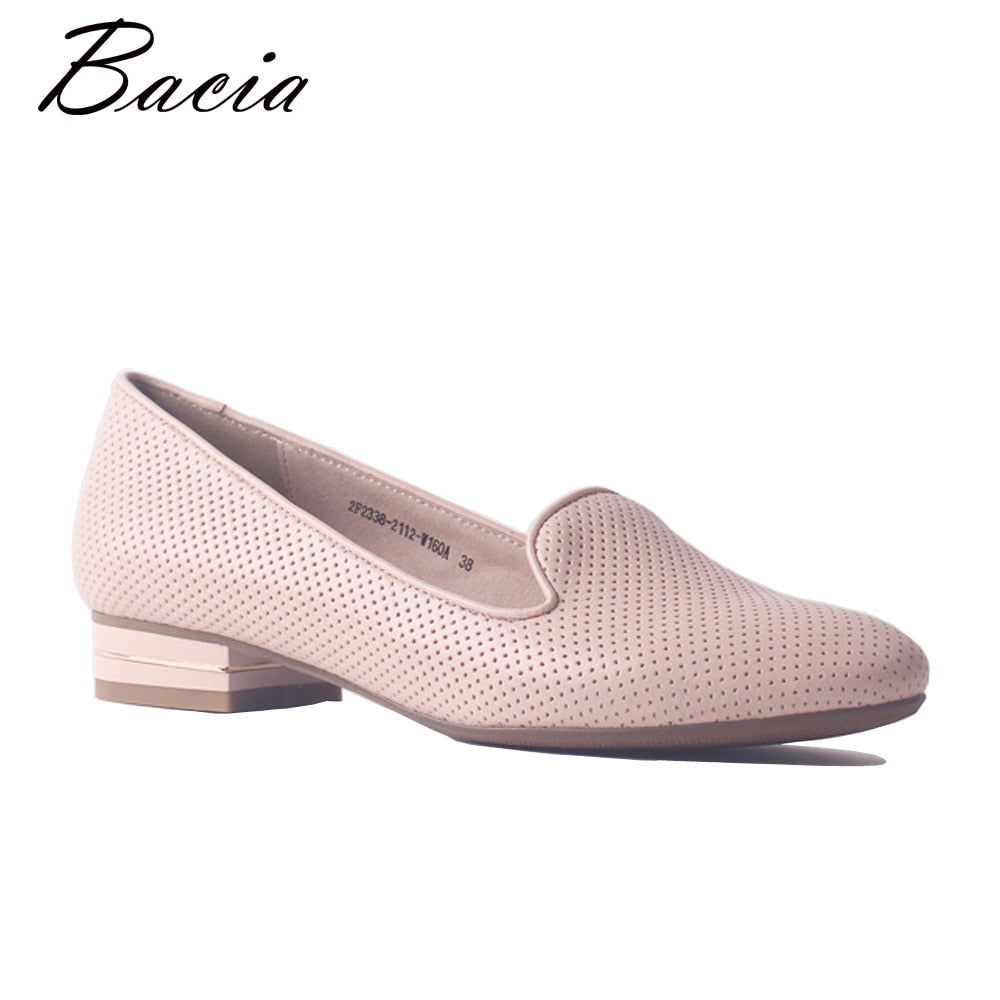 Bacia Genuine Cow Leather Flat Round Toe Slip-on Casual Handmade Women Shoes Flexible Soft Breathable Pink Female Flat New SA094